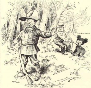 Clifford Berryman's (April 2, 1869 – December 11, 1949) political cartoon of President Theodore Roosevelt's bear hunting trip to Mississippi that gave the Teddy Bear its name. Was published in 1902 in The Washington Post